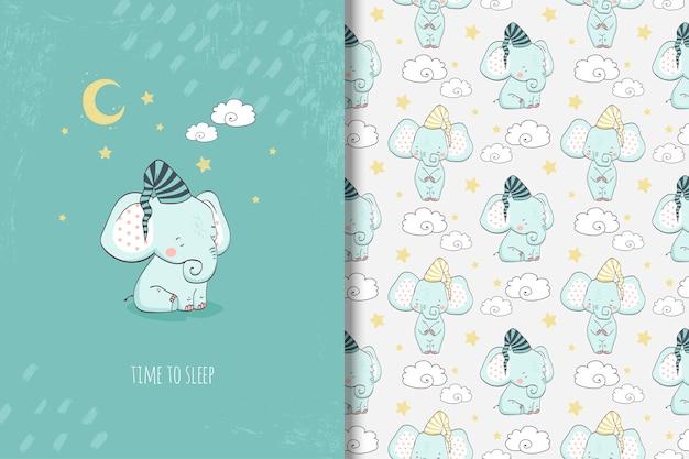 Kleine elefantenkarte der karikatur und nahtloses muster Premium Vektoren