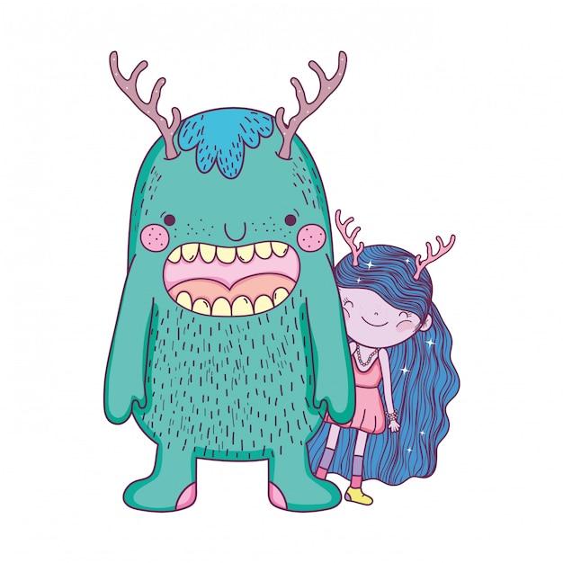 Kleine fee mit monsterfiguren Premium Vektoren