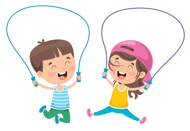 Kleine glückliche kinderspringseil Premium Vektoren