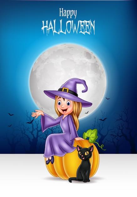 Kleine hexe der karikatur, die auf halloween-kürbis mit schwarzer katze sitzt Premium Vektoren