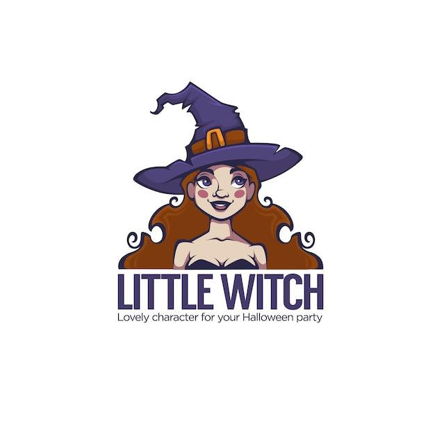 Kleine hexe, porträt der jungen attraktiven hexe für ihr halloween-etikett, logo, emblem Premium Vektoren