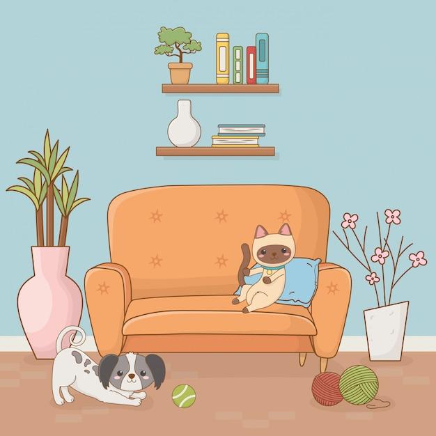 Kleine hunde- und katzenmaskottchen im hausraum Premium Vektoren