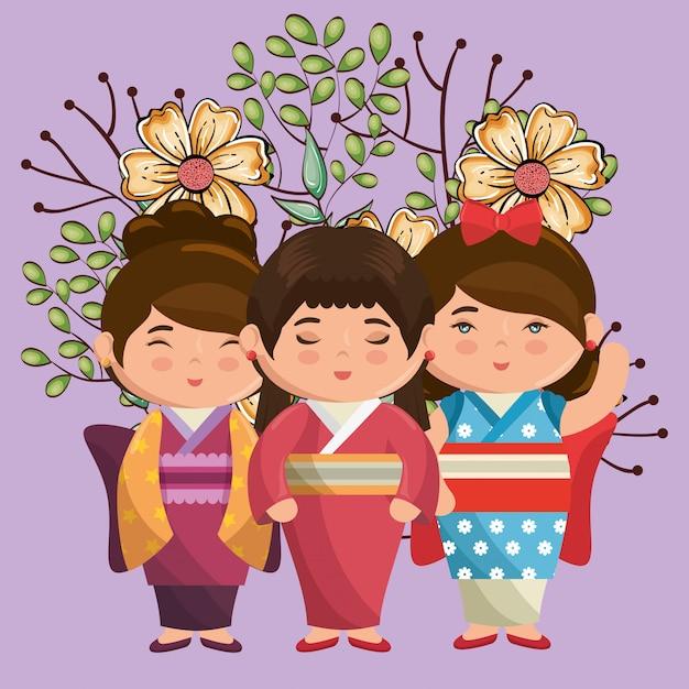 Kleine japanische paarmädchen kawaii mit blumencharakteren Premium Vektoren