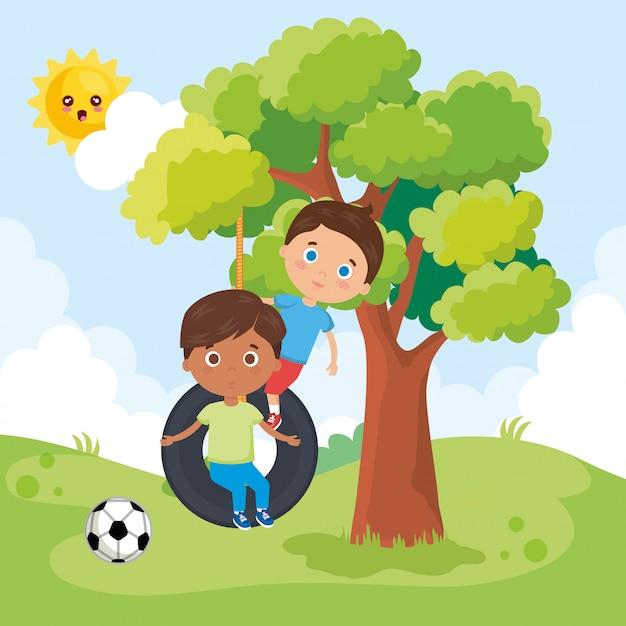 Kleine jungs spielen im park Kostenlosen Vektoren