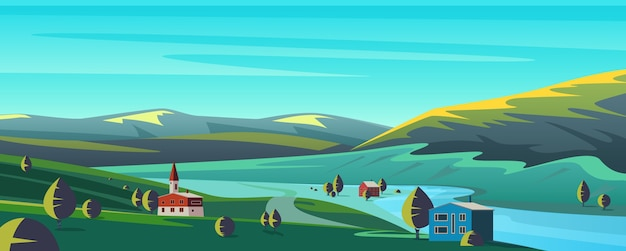 Kleine karikaturstadt in gebirgslandschaft Premium Vektoren
