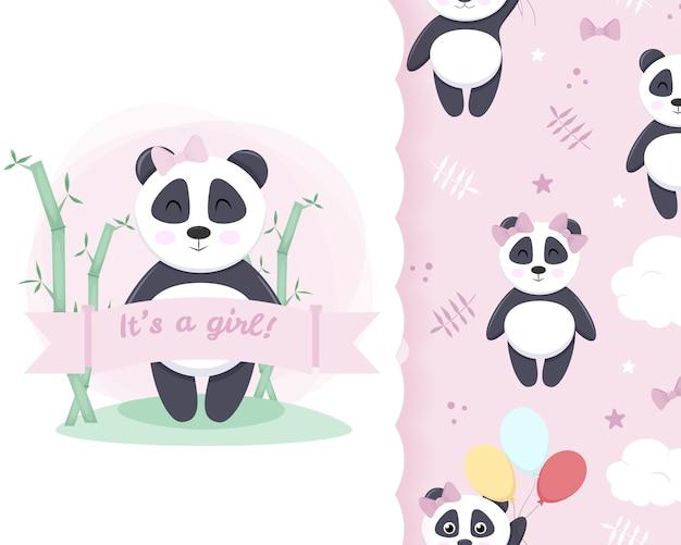 Kleine karte nahtloses muster panda mädchen Premium Vektoren