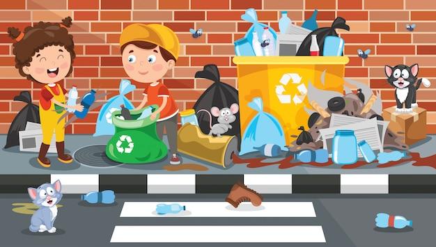Kleine kinder, die abfall säubern und aufbereiten Premium Vektoren