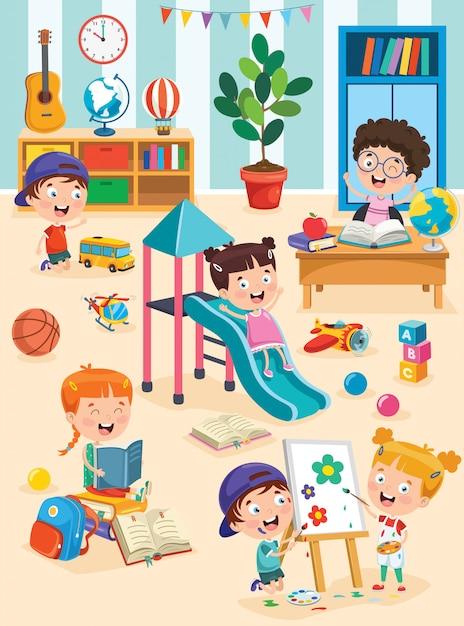 Kleine kinder, die am vorschulklassenzimmer studieren und spielen Premium Vektoren