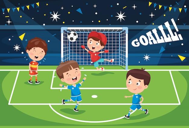 Kleine kinder, die den fußball im freien spielen Premium Vektoren