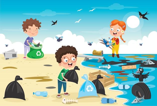 Kleine kinder, die den strand säubern Premium Vektoren
