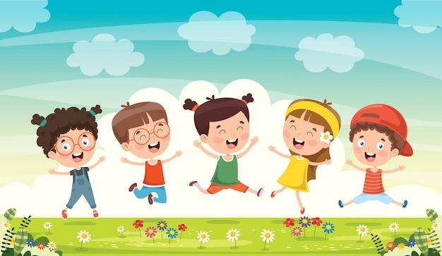 Kleine kinder, die spaß zusammen haben Premium Vektoren