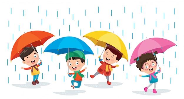 Kleine kinder mit regenschirmen Premium Vektoren