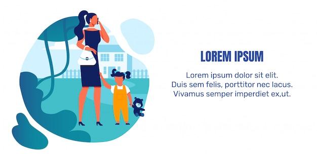 Kleine kinder vernachlässigen banner vorlage Premium Vektoren