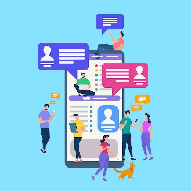 Kleine leute, die in social media plaudern Premium Vektoren