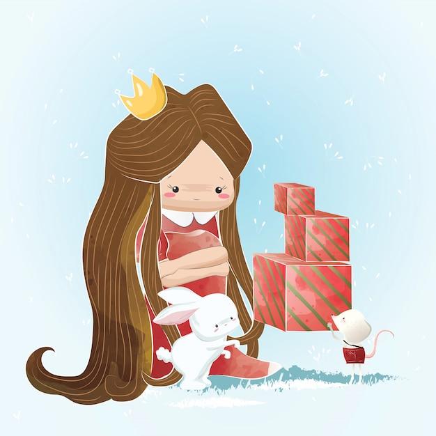 Kleine prinzessin, die weihnachtsgeschenke empfängt Premium Vektoren