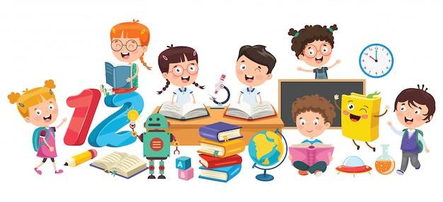 Kleine studenten, die bücher studieren und lesen Premium Vektoren