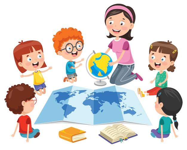 Kleine studenten, die geographie studieren Premium Vektoren