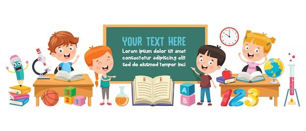 Kleine studierende und lesende studenten Premium Vektoren