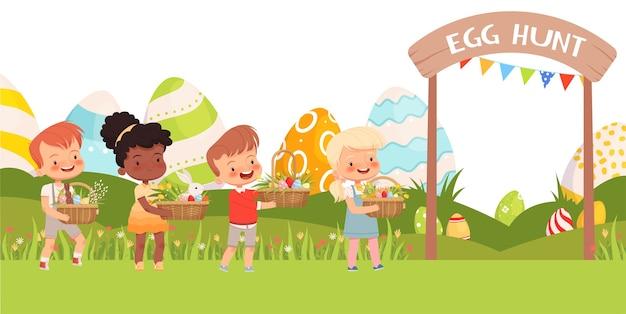 Kleine süße kinder tragen osterkörbe mit bunten eiern und ersten blumen. Premium Vektoren