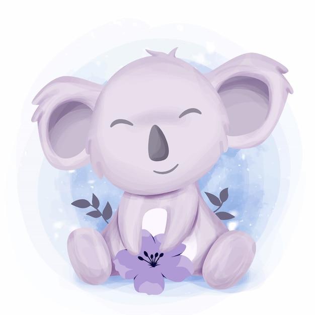 Kleine süße koala fühlen sich glücklich Premium Vektoren