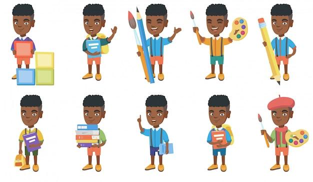 Kleiner afrikanischer jungenzeichensatz Premium Vektoren