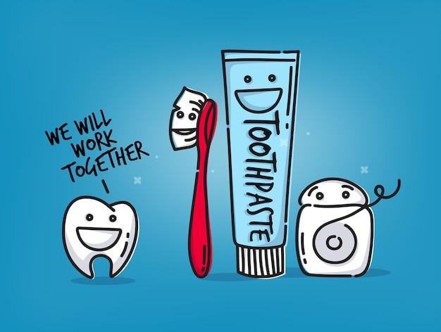 Kleiner amüsanter zahn, zahnbürste, zahnseide, zahnpasta Premium Vektoren