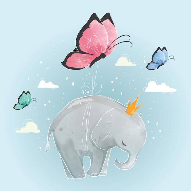 Kleiner elefant, der mit schmetterlingen fliegt Premium Vektoren