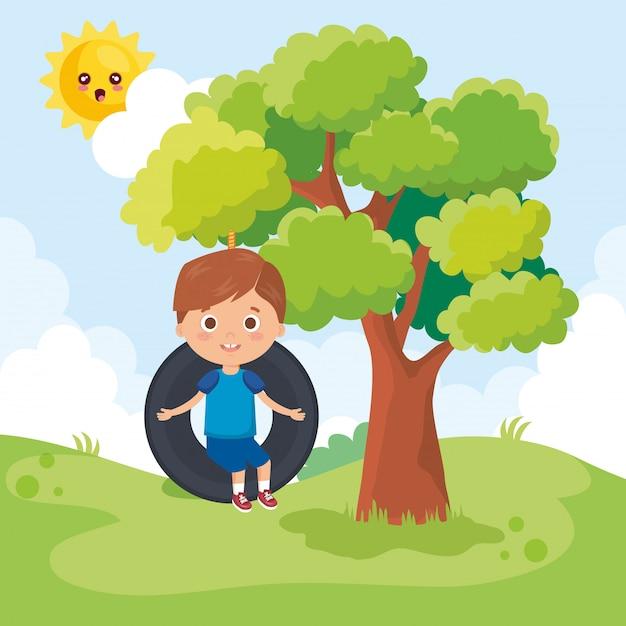 Kleiner junge, der auf dem park spielt Kostenlosen Vektoren