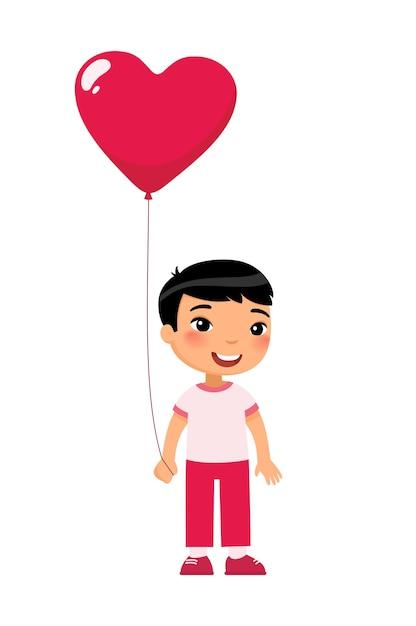 Kleiner junge, der herzförmigen ballon hält. lächelnder kindercharakter mit geschenk. Kostenlosen Vektoren