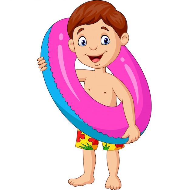 Kleiner junge der karikatur mit aufblasbarem ring Premium Vektoren