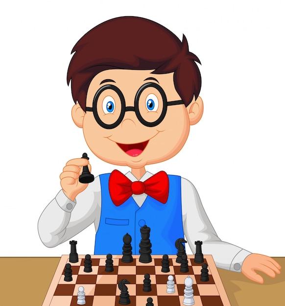 Kleiner junge, der schach spielt Premium Vektoren