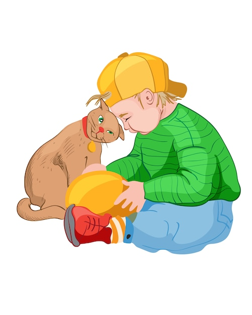 Kleiner junge in der gelben kappe, die mit einer katze spielt. farbenfrohe kleider. haustier freund idee Kostenlosen Vektoren