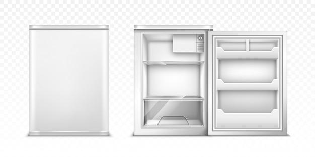 Kleiner kühlschrank mit offener und geschlossener tür Kostenlosen Vektoren