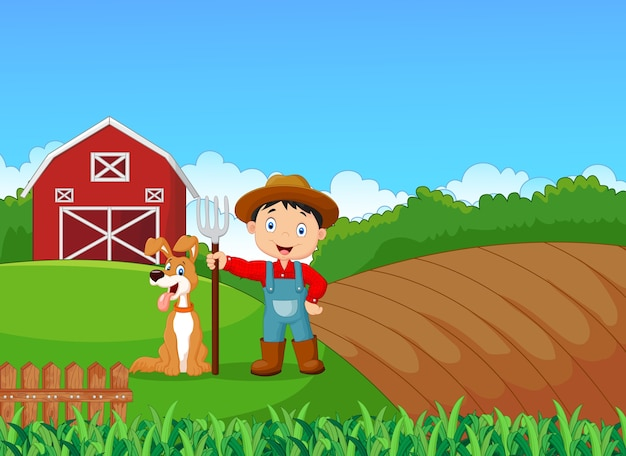 Kleiner landwirt der karikatur und sein hund mit bauernhofhintergrund Premium Vektoren
