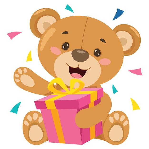 Kleiner lustiger teddybär-cartoon Premium Vektoren