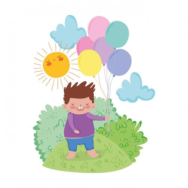 Kleiner molliger junge mit ballonhelium in der landschaft Premium Vektoren