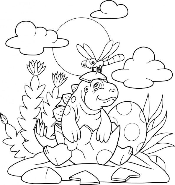 Kleiner süßer stegosaurus Premium Vektoren