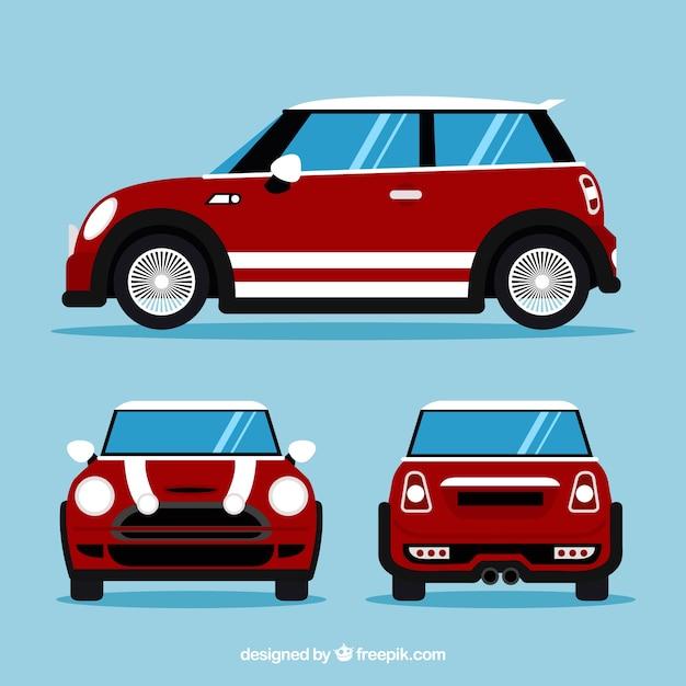 Kleines auto in verschiedenen ansichten Kostenlosen Vektoren