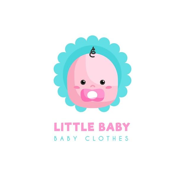 Kleines baby mit schnullerkleidungslogoschablone Premium Vektoren