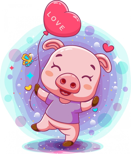 Kleines babyschwein, das rosa herzballon hält Premium Vektoren