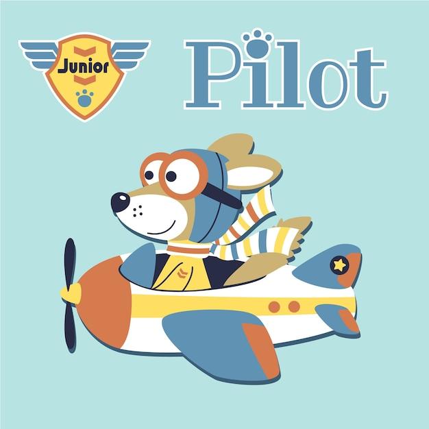 Kleines flugzeug mit niedlichen piloten Premium Vektoren