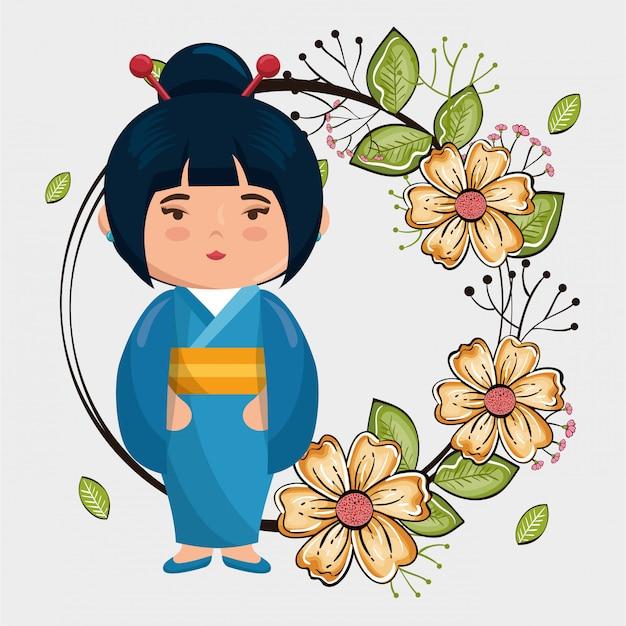 Kleines japanisches mädchen kawaii mit blumencharakter Premium Vektoren
