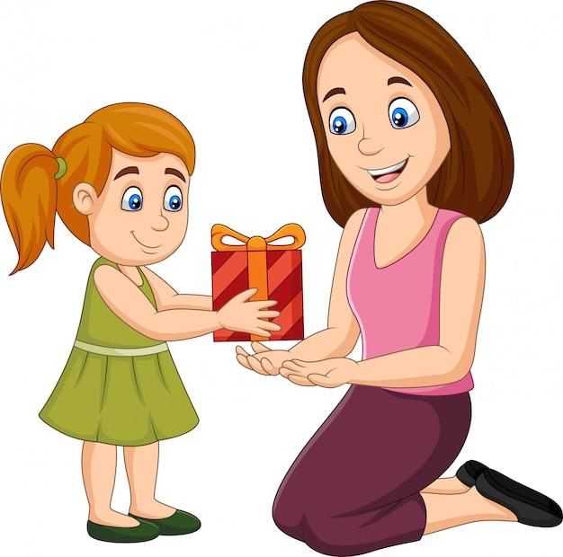 Kleines mädchen, das ihrer mutter eine geschenkbox gibt Premium Vektoren