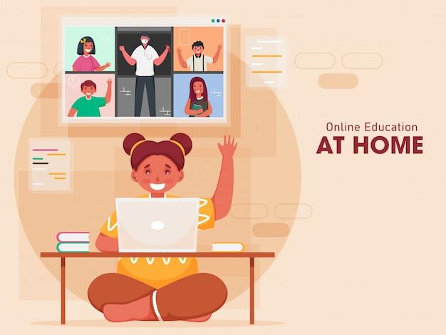 Kleines mädchen, das videoanruf an klassenkameraden und lehrer im laptop mit hallo zu hause auf pfirsichhintergrund hat. Premium Vektoren