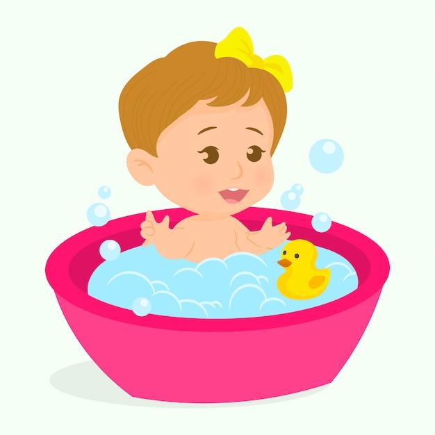 Kleines mädchen, ein bad zu nehmen Premium Vektoren