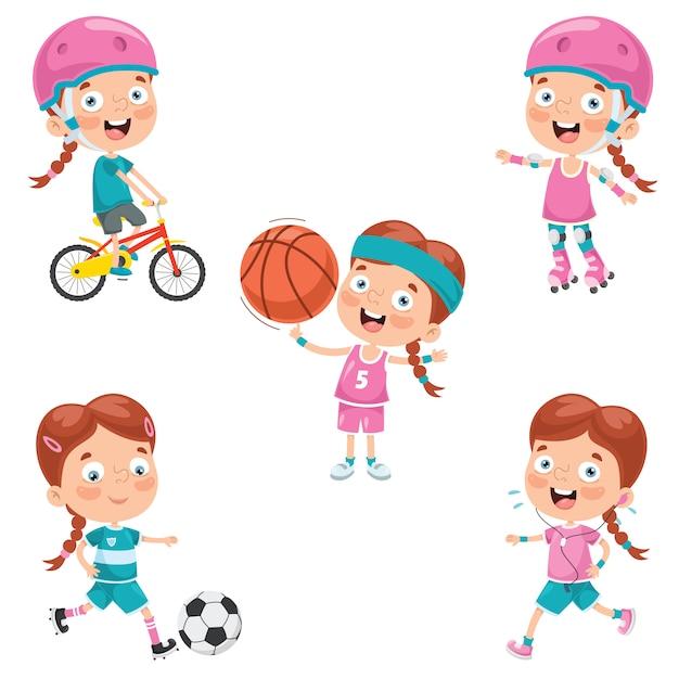 Kleines mädchen machen verschiedene sportarten Premium Vektoren