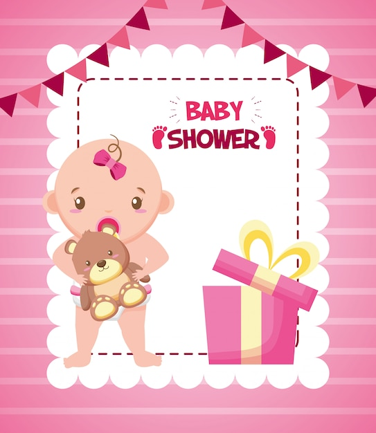Kleines mädchen mit bären für babypartykarte Kostenlosen Vektoren