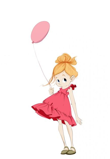 Kleines mädchen mit ballon Premium Vektoren