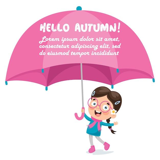 Kleines mädchen mit einem großen rosa regenschirm Premium Vektoren