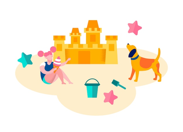 Kleines mädchen spielt am strand gebäude sandburg, Premium Vektoren